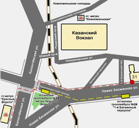 Схема расположения мини отеля в Москве.